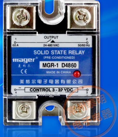 mager Genuine new original  single-phase solid-state relay 220V SSR MGR-1 D4860 60A DC control AC DC-AC ssr mgr 1 d4860 meike er normally open type single phase solid state relay 60a dc ac