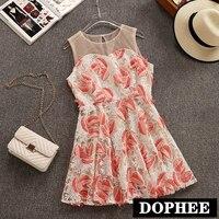 2019 New Women's Summer Sleeveless Short Dress Girls O neck Sweet Vest Mini Dress Floral Embroidery Beach Dresses Vestido Ladies