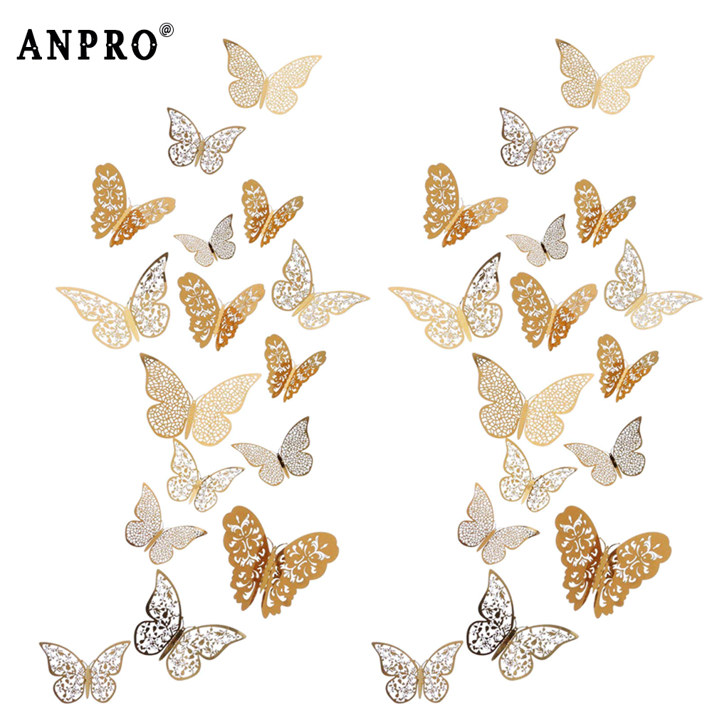 12Pcs 3D PVC Butterfly Wall Stickers DIY Fridge Decals Wallpaper For House Bedroom Party Decoration Room Wall Art