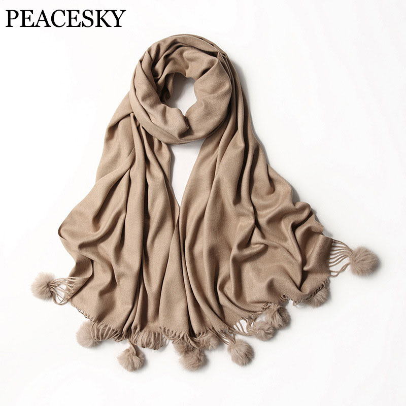 2017 New Luxury Brand Winter   Scarves   Fashion Thick Warm Blanket Women's   Scarf     Wrap   Cashmere   Scarf   Shawl Pashmina With Fur Balls