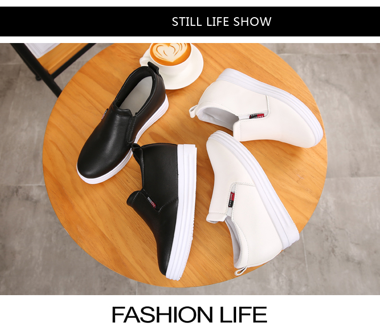 Wedge Leather Casual Shoes Woman Platform Shoes 2017 Spring New Simple Height Increasing Women Shoes Round Toe Ladies Shoes ZD48 (14)