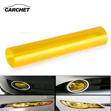 "CARCHET 30x60cm Auto Car Film Taillight Headlight Fog Sticker Decorative Films Vinyl Sticker Cover 12x24"" Yellow Car Styling(China)"