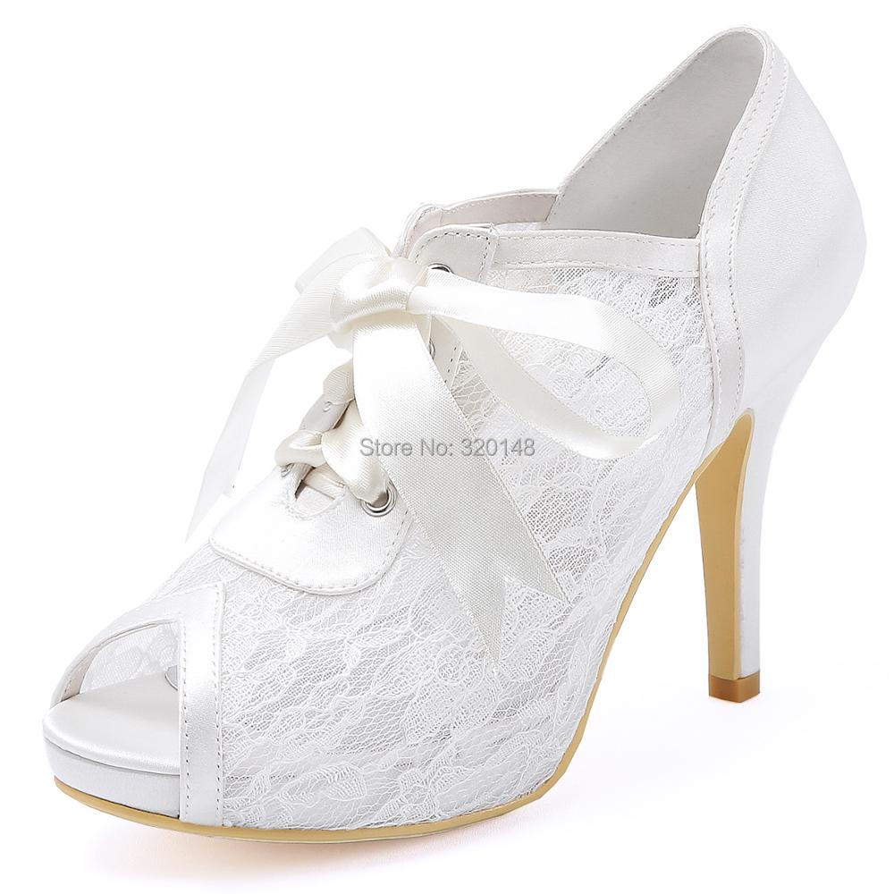 Women Shoes high heel Peep toe Platform Stiletto Ribbon Tie Wedding Bridal Pumps Lace Lady Prom party evening White Ivory HP1718 fashion white lady peep toe shoes for wedding graduation party prom shoes elegant high heel lace flower bridal wedding shoes