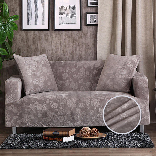 Solid Color Embossing Stretch Sofa Cover Grey Furniture Covers For Living Room 100 Polyester Couch Slipcover