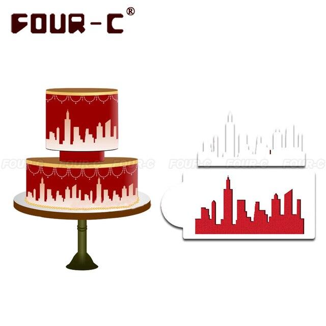 New york skyline kuchen schablone kuchen seite schablone for Kuche dekorieren wand