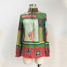 Hot fashion cartoon print womens Shirts 2019 spring autumn brand new design bowtie & blouses A213