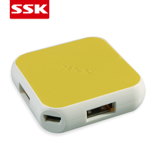 SSK hot-sales colorful extended USB2.0 Hub with 4 usb ports fast speed 480Mbps for laptop desktop supporting play and plug hub