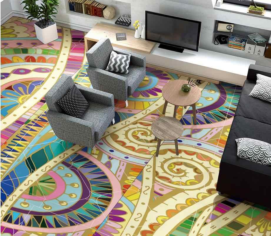3d vloeren Marokkaanse abstract patroon handgeschilderde floor 3d behang pvc 3d floor schilderen behang