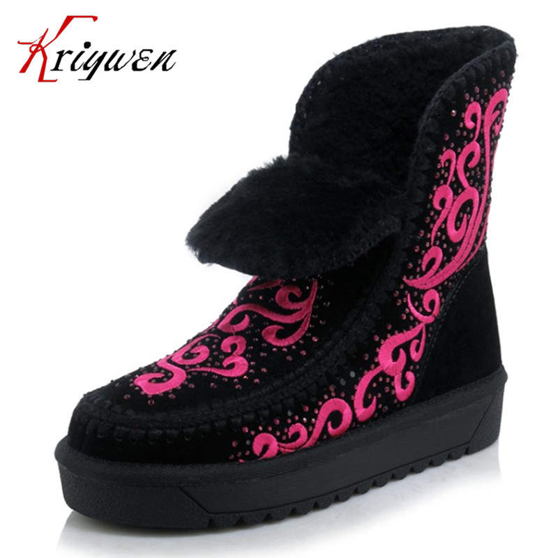 ФОТО Large size 34-43 Crystal decortion warm women ankle boots print shearling cow suede flat heels round toe lady female snow shoes