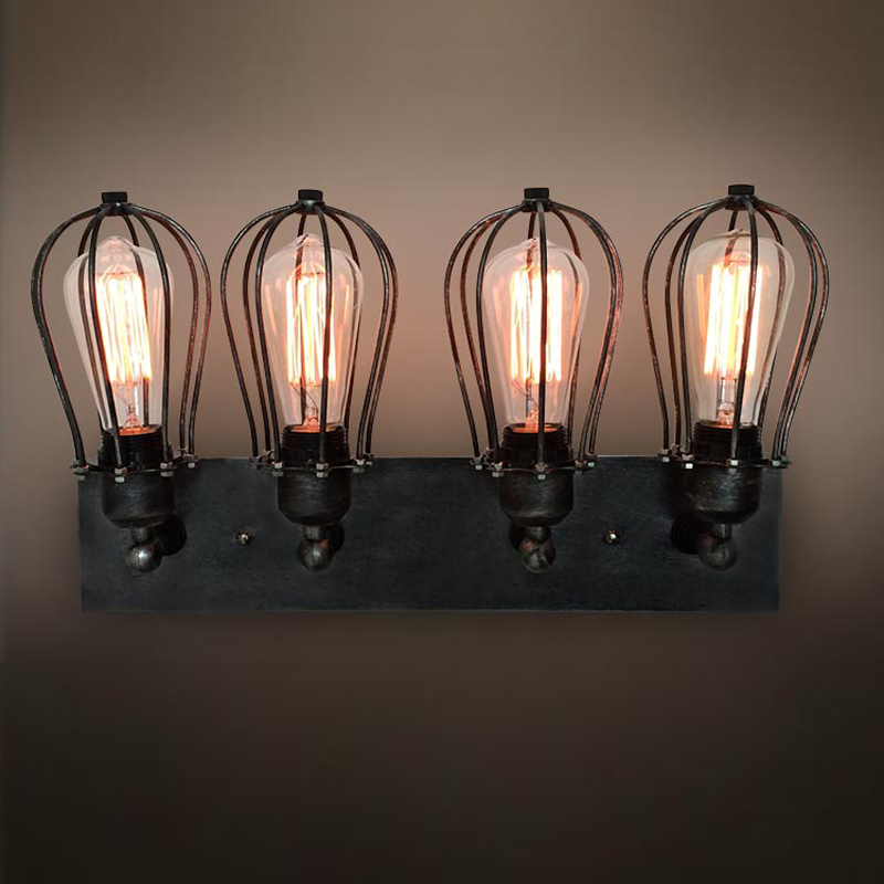 antique bathroom black Wall Sconce lamp 4 light industrial ... on Bathroom Wall Sconce Lighting id=39297