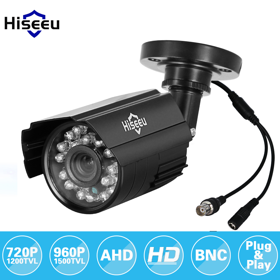 Hiseeu 720P 960P AHD Camera Metal Case Outdoor Waterproof Bullet CCTV Camera Surveillance Camera for cctv DVR system Security wistino white color metal camera housing outdoor use waterproof bullet casing for cctv camera ip camera hot sale cover case
