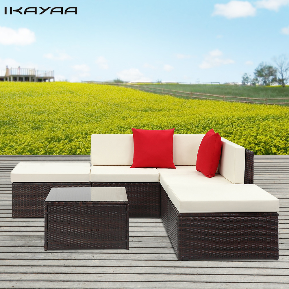IKayaa 6PCS Cushioned Rattan Outdoor Patio Furniture Set Garden Wicker  Corner Sofa Table Set Garden Furniture