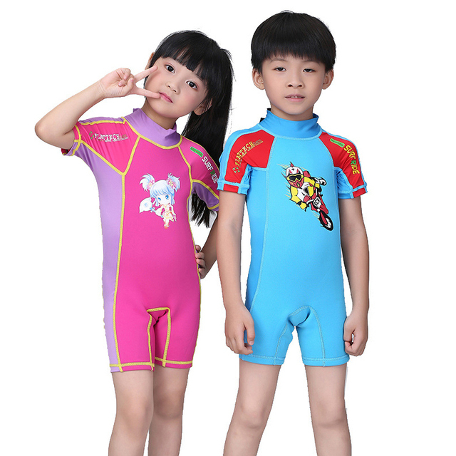 Divesail rashguard for boys girls kids shorty kids wetsuit swimsuit children swimming surf for Children s swimming pool wetsuit