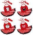 Красный Halterneek Боди Комбинезон Черный Красный Горошек Pettiskirt Детское Платье Повязка NB-18M MAJS0091