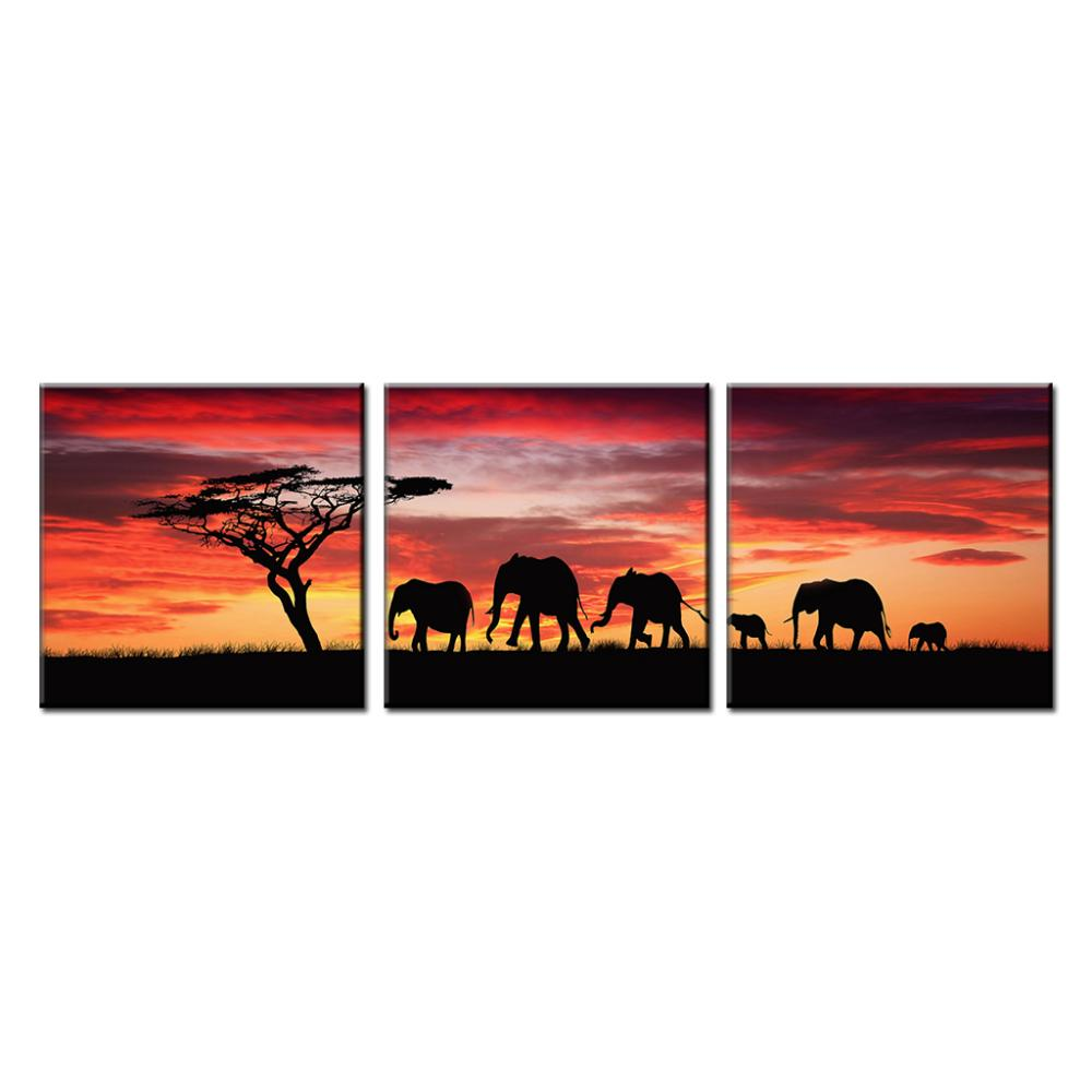 3 pcs set african natural landscape canvas painting wild animal