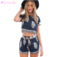 Vintage Style Women Summer Casual Print O Neck Short Sleeve Crop Tops Elastic Waist Shorts Two