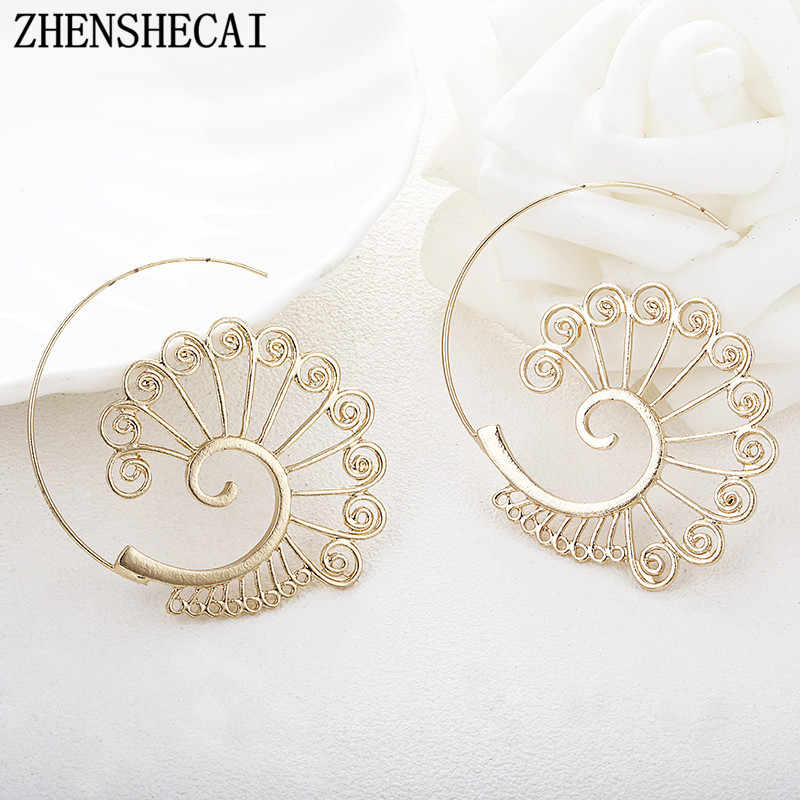 Bohemia style Personality Round Spiral hoop Earrings Exaggerated Gold color Earrings for Women ear Jewelry gift girl e0449