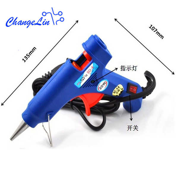 20W Hot Melt Glue Gun with 5pcs 7mm*250mm Glue Stick Industrial Mini Blue Small Gun Thermo Electric Heat Temperature Tool