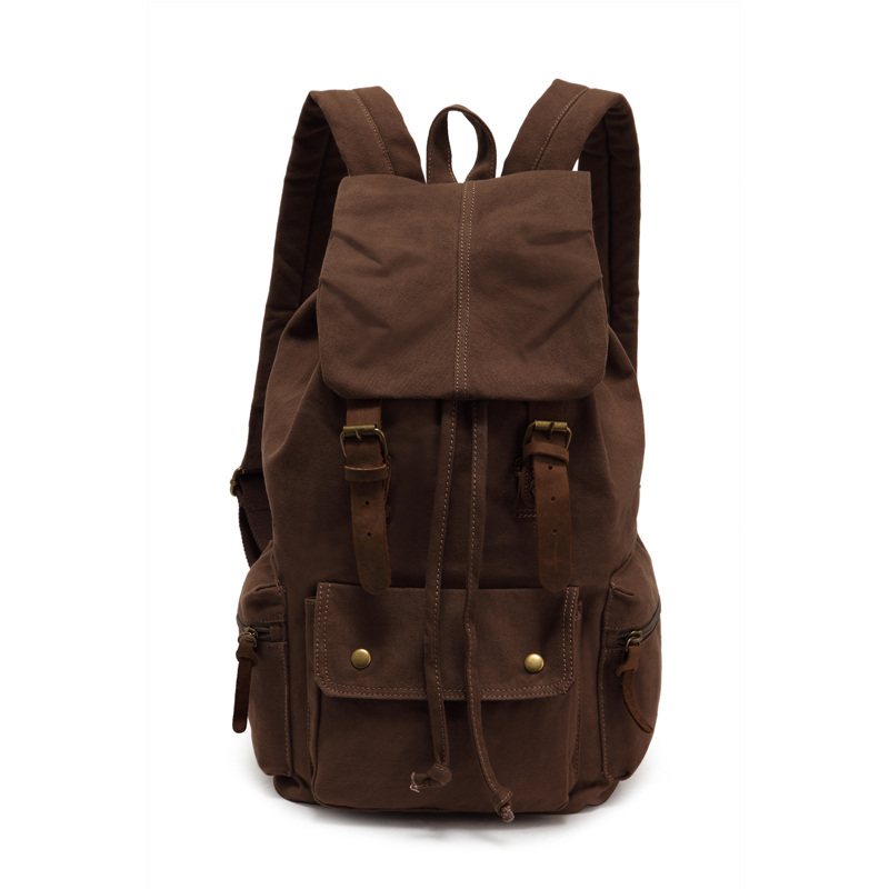 Coffee Vintage Canvas Backpack Daypack Laptop Backpack Travel Bag Leather Men Women School Bag Rucksack Free shipping pabojoe women mens school backpack italian 100% genuine leather fashion book bag college daypack black fit 15inch laptop