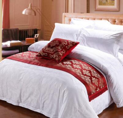50*240CM Luxury Bed Runner Home Hotel Solid Red Runner Mat Increase Room Dec Polyester Patchwork Textile FG221-2