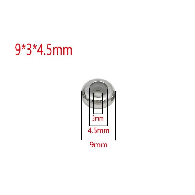 Пробка из нержавеющей стали разделительные бусины с резиновой вставкой сердечника для управления DIY ожерелья и браслеты длина ювелирных изделий - Цвет: 9x3x4.5-10Pcs