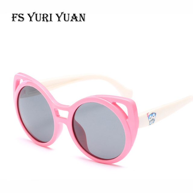 d3604a542c9 FS YURI YUAN Polarized Kids Sunglasses TR90 Lovely Cartoon Cat Child Sun  Glasses 3-10 Years Old Boys Girls Glasses Baby 3442