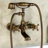 Free shipping Bathroom Wall Mount Clawfoot Bath Tub Filler Faucet Hand Shower Antique Brass 023