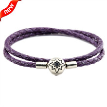 Bright Purple Leather Bracelets and Necklaces for Women Jewelry Making Fits European Beads 925 Sterling Silver Starry Sky Clasp dark blue leather bracelets and necklaces for women jewelry making fits european bead charm 925 sterling silver starry sky clasp