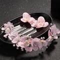 Fashion Pink Flower Bridal Pearl Hair Accessories Handmade Rhinestone Wedding Headband Crystal prom Tiaras