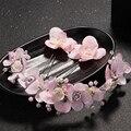 Moda Rosa Flor de La Perla Nupcial Del Pelo Accesorios Hechos A Mano de La Venda de Boda Rhinestone Crystal prom Tiaras