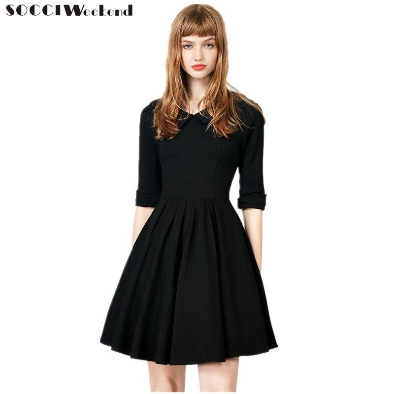 SOCCI Little Black   Dress   2019 New Simple V Neck Back Half sleeves   Cocktail     Dresses   Above Knee Elegant Formal Prom Party Gowns