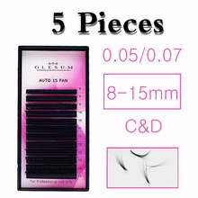 GLESUM 5/set Volume of Russian Eyelash Extensions fans Blooming Lash fan easy to 0,Auto 1s Mink Eyelashes