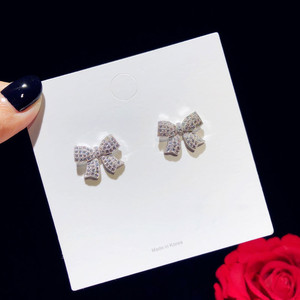 Image 3 - Stud Earrings For Women Solid 925 Silver Needles Bowknot Cubic Zirconia Fine Jewelry Lovely Sweet Cute Brincos Top Quality