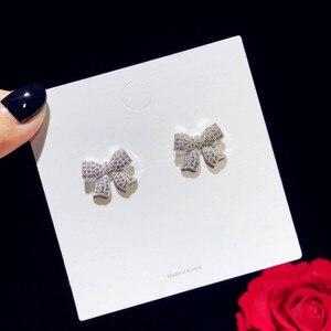 Image 3 - Stud Ohrringe Für Frauen Solide 925 Silber Nadeln Bowknot Zirkonia Feine Schmuck Schöne Süße Nette Brincos Top Qualität