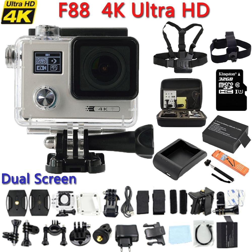 Original F88 Action camera Ultra HD 4K 24FPS WiFi 1080P/60fps 2.0 LCD 170D lens Helmet Driving Cam go waterproof pro camera