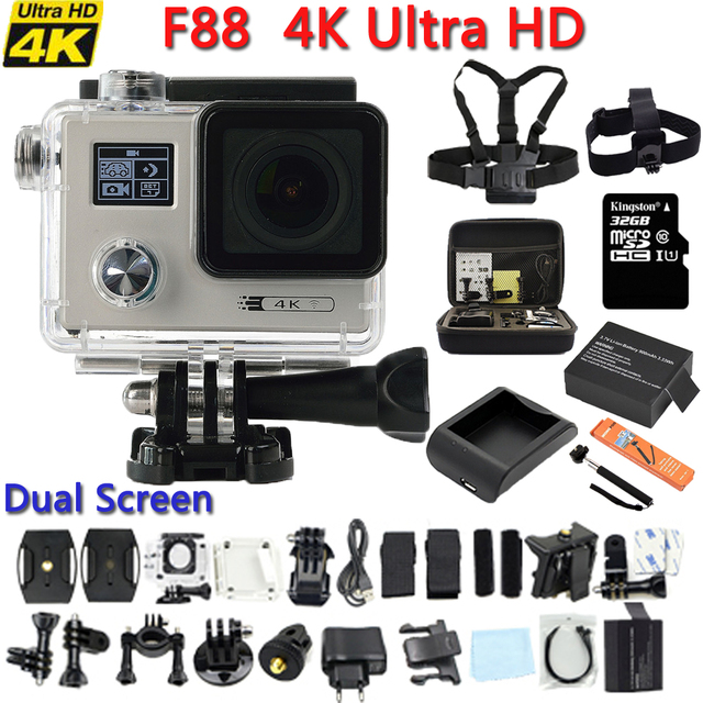 Original F88 Action camera Ultra HD 4K 24FPS WiFi 1080P/60fps 2 0 LCD 170D  lens Helmet Driving Cam go waterproof pro camera-in Sports & Action Video