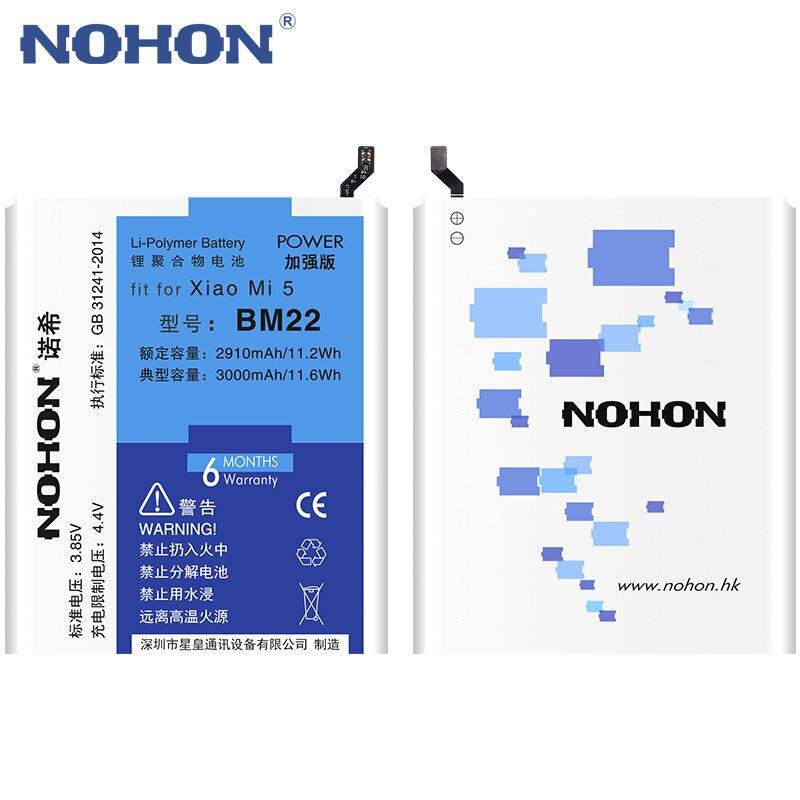 NOHON Batterie BM22 Für Xiao mi mi 5 mi 5 Hohe Kapazität 3000 mAh Handy Ersatz Batterien Kostenloser Werkzeuge einzelhandel Paket