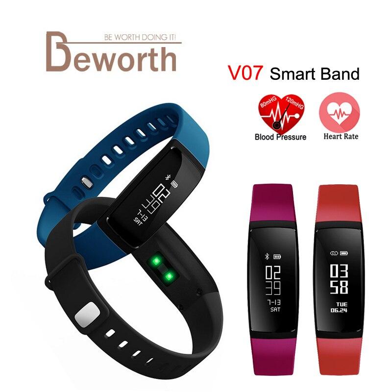 V07 nutikas käevõru vererõhu südame löögisageduse monitori bänd Watch Fitness pulssmõõturi tegevus Tracker Android iOS jaoks