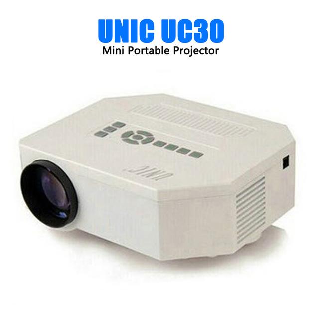 Unic uc30 hd mini proyector llevado/nativo 640x480/soporte HDMI/Tres Vidrios lentes/150 lúmenes Con Mando A Distancia controlador