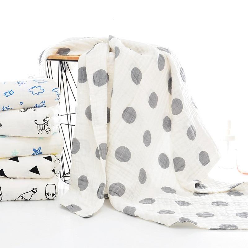 110*110cm Soft Cotton Class A 3/6-Layer Muslin Gauze Towel Infant Bath Towel Baby Blanket Swaddle Baby Bath Towel