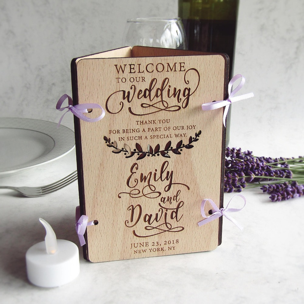 Custom Laser Cut Wood Wedding Table Decoration  Welcome Sign, Table Number, Menu & Led Candle  Centerpieces, Wreath, Purple, R