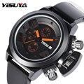 Роскошные мужские часы YISUYA с 3D хронографом  военные спортивные кварцевые часы с календарем и большим циферблатом  мужские силиконовые рези...