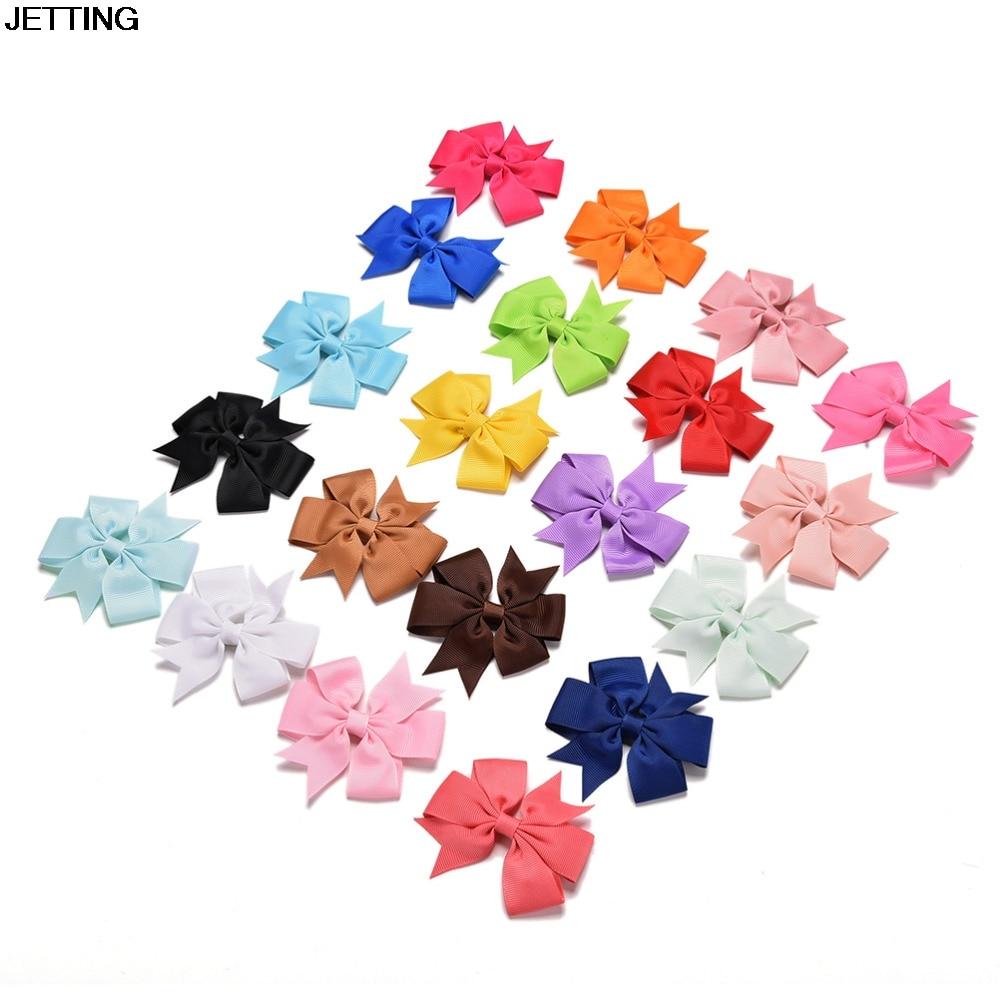 20pcs/set Grosgrain Ribbon Boutique Hair Bows Clip Hairpins For Girl Hair Accessories