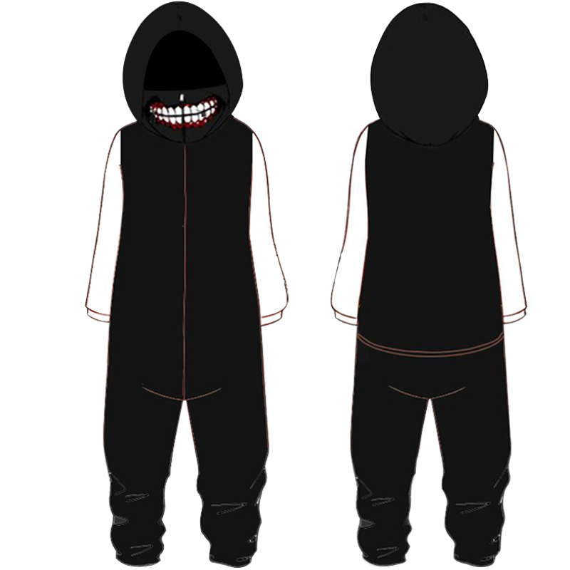 Autumn Winter Tokyo Ghoul Flannel Warm Pajamas For Men Plus Size Hooded One Piece Overalls Tokyo Cosplay Homewear D82303