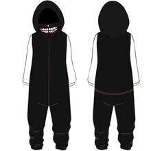 44711e9015856 Automne hiver Tokyo Ghoul flanelle pyjamas chauds pour hommes grande taille  à capuche une pièce salopette