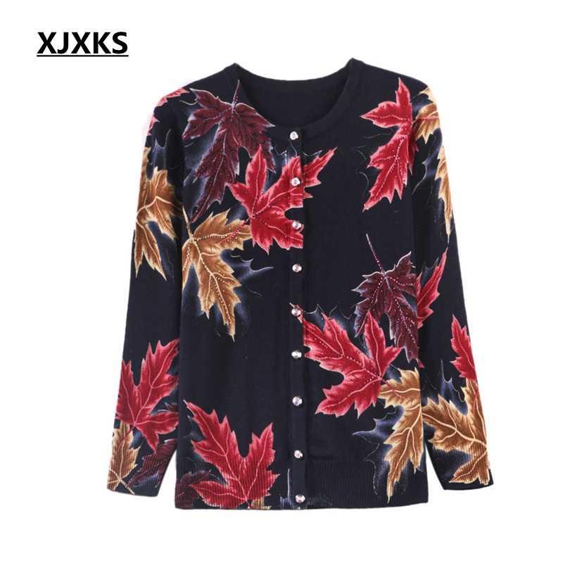 XJXKS кашемировые кардиганы Для женщин осень 2019 новый плюс Размеры печати свитер Для женщин Высокое качество Мягкий кленовый лист женский кардиган