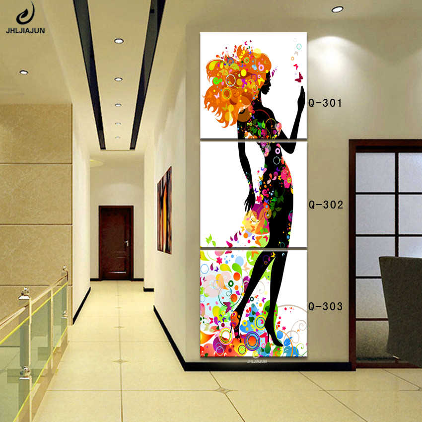 New Year Decoration Triptych Vertical Modular Pictures Abstraction Poster Flowers Modern Cuadros Decoracion Canvas Art Prints