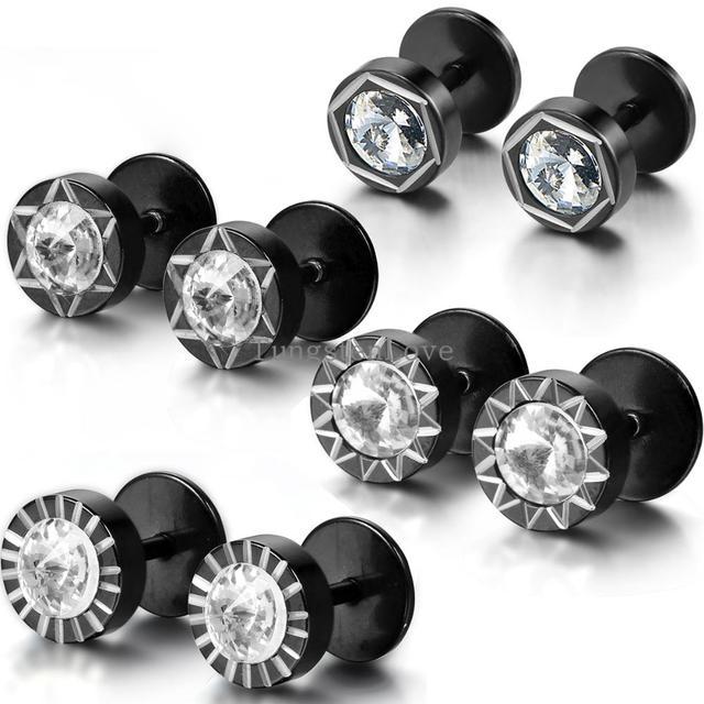 8mm Black Stainless Steel Men Uni Round Stud Earrings Set Faux Ear Plugs Sun Flower Pattern