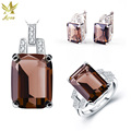 ANGG 5.9 ct Jewelry Set for Women 925 Sterling Silver Jewelry Ring Earrings Necklace Wedding & Engagement Smoky Quartz Jewelry