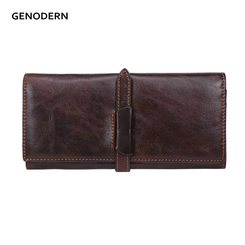 GENODERN 100% Cow Leather Men Wallets Long Genuine Leather Wallets for Men & Women Brown Men Purses Long Man Wallet genodern 100